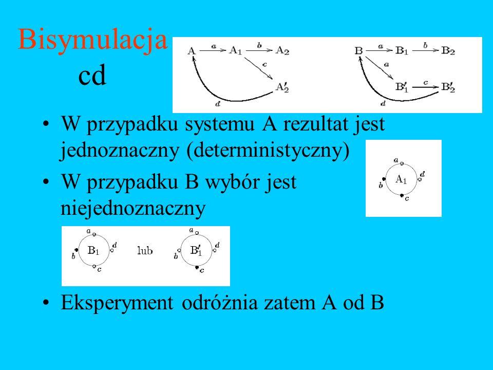 Bisymulacja cd W przypadku systemu A rezultat jest jednoznaczny (deterministyczny) W przypadku B wybór jest niejednoznaczny.