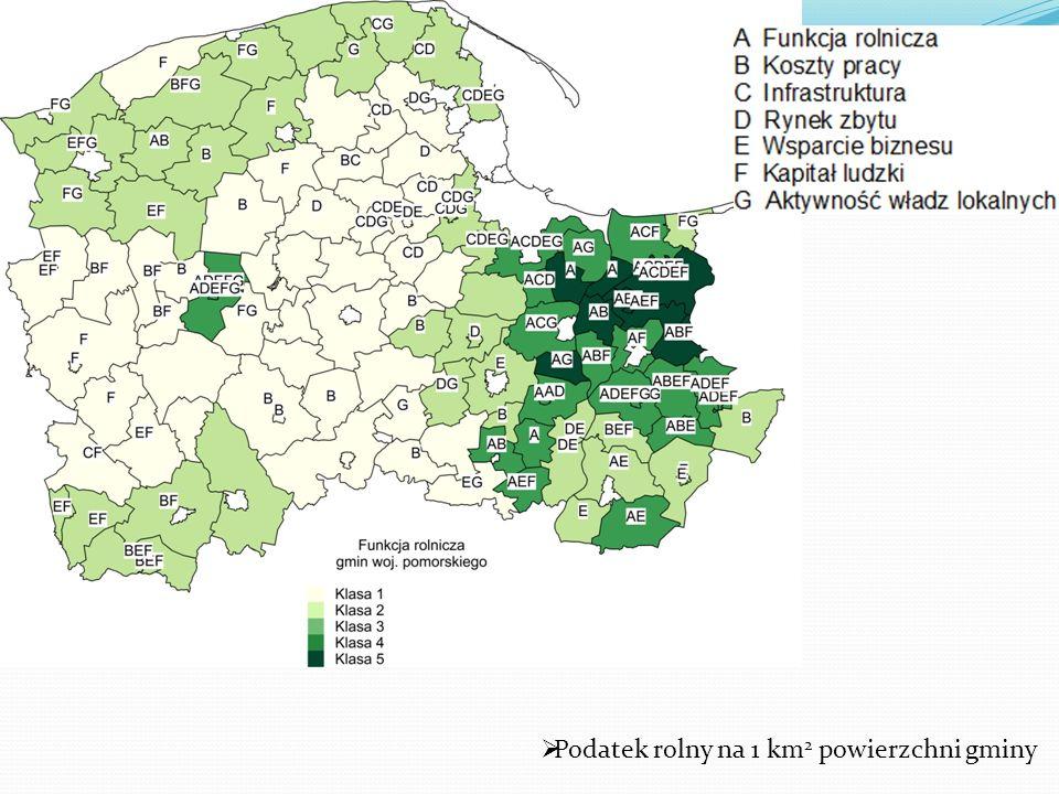 Podatek rolny na 1 km2 powierzchni gminy