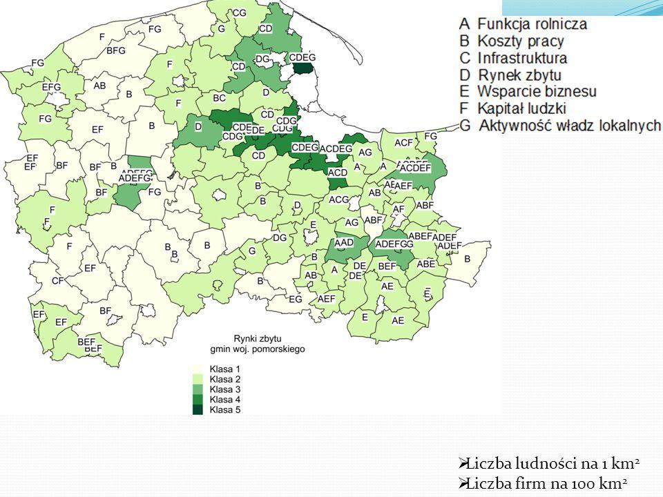 Liczba ludności na 1 km2 Liczba firm na 100 km2