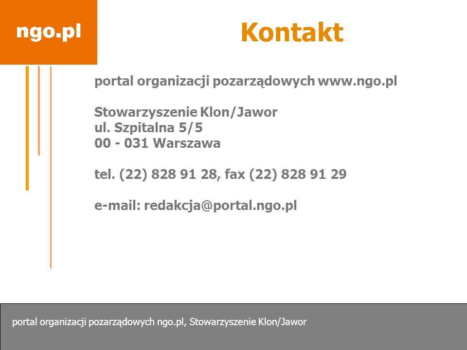 Kontakt portal organizacji pozarządowych www.ngo.pl