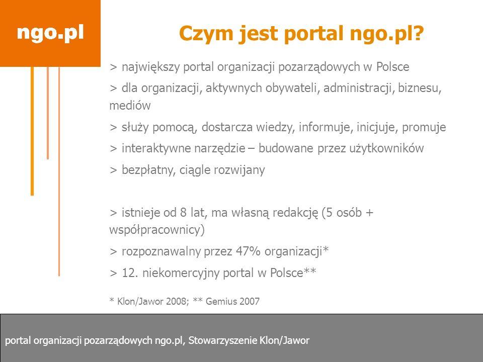 Czym jest portal ngo.pl > największy portal organizacji pozarządowych w Polsce.