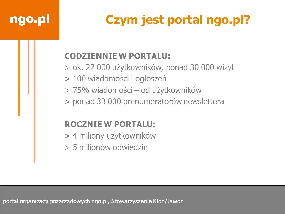 Czym jest portal ngo.pl CODZIENNIE W PORTALU: