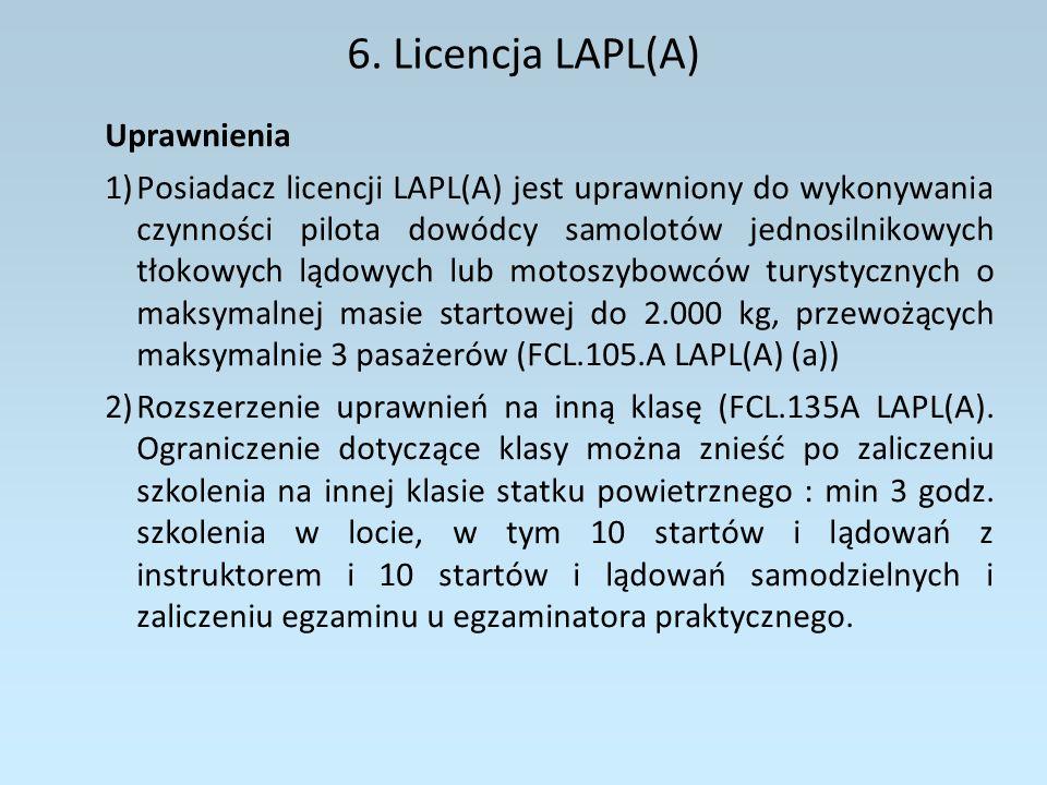 6. Licencja LAPL(A) Uprawnienia