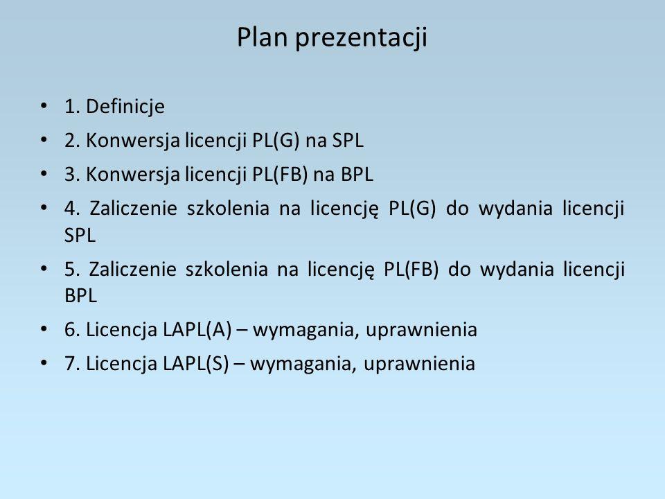 Plan prezentacji 1. Definicje 2. Konwersja licencji PL(G) na SPL