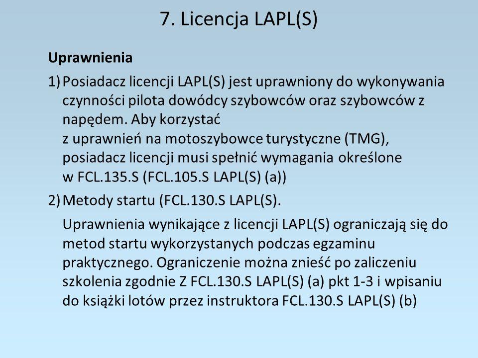 7. Licencja LAPL(S) Uprawnienia