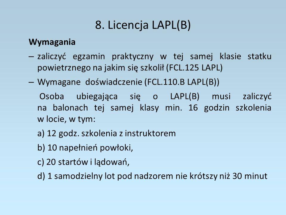 8. Licencja LAPL(B) Wymagania