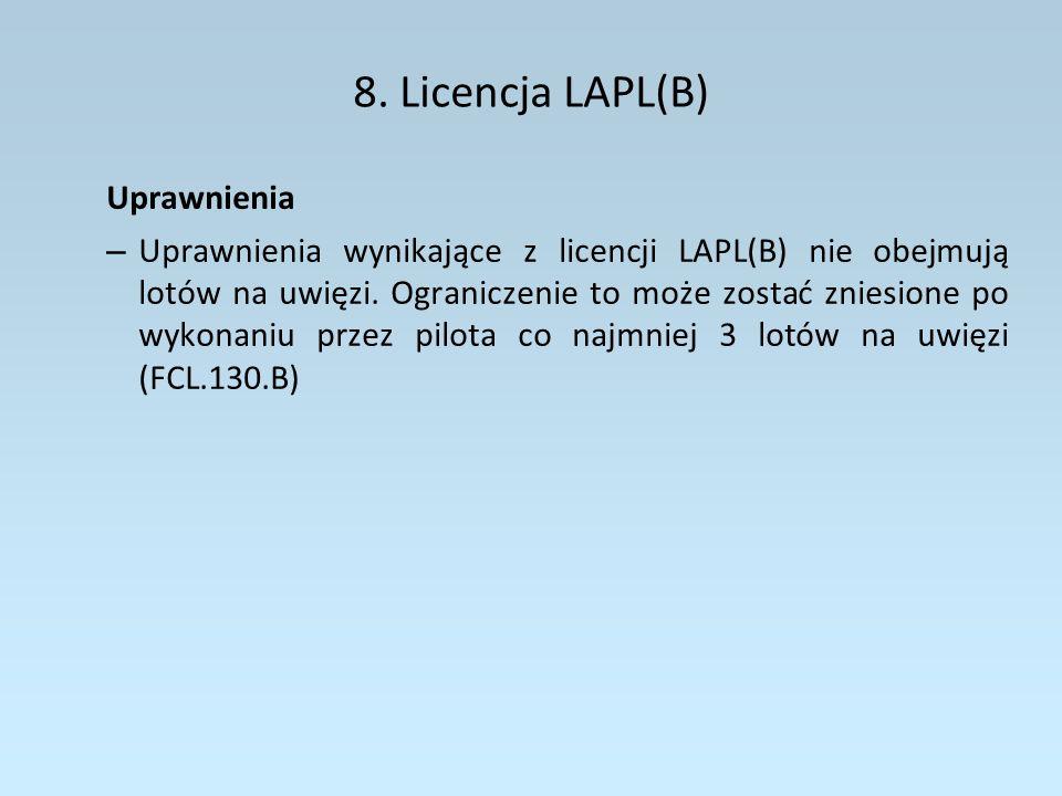 8. Licencja LAPL(B) Uprawnienia