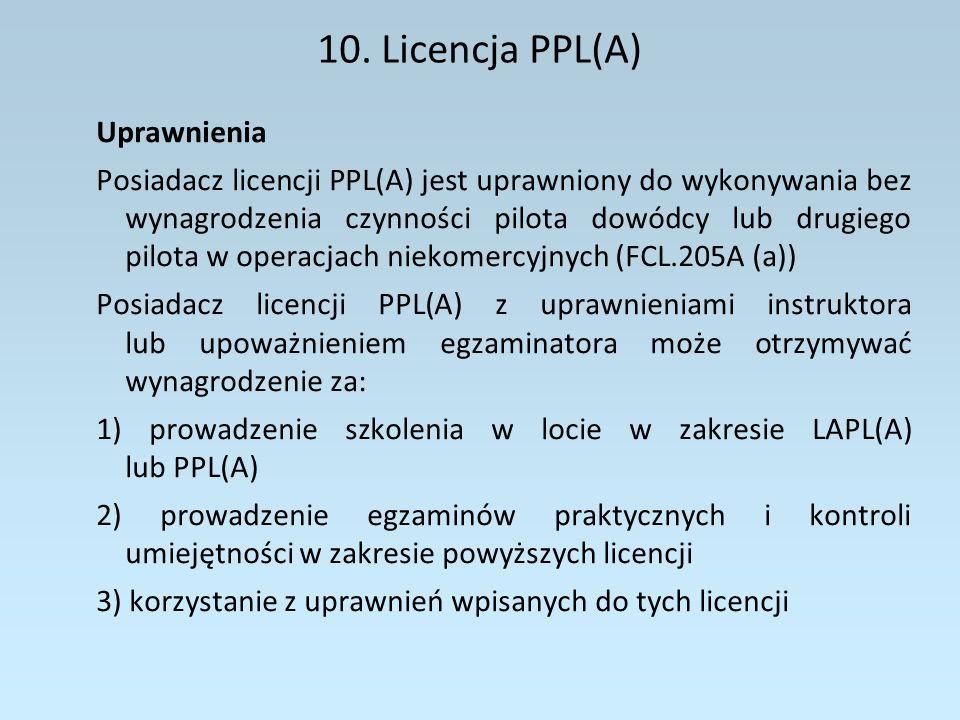 10. Licencja PPL(A) Uprawnienia
