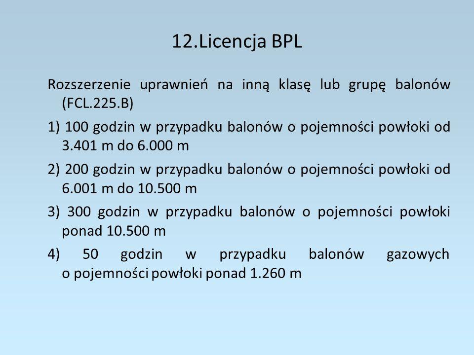 12.Licencja BPL Rozszerzenie uprawnień na inną klasę lub grupę balonów (FCL.225.B)