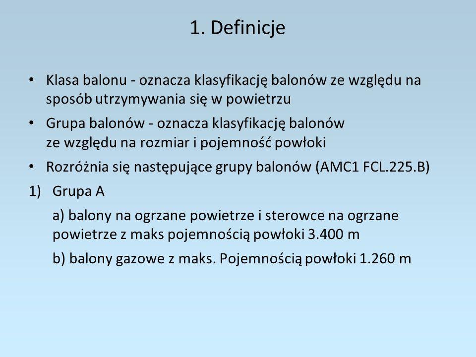 1. Definicje Klasa balonu - oznacza klasyfikację balonów ze względu na sposób utrzymywania się w powietrzu.