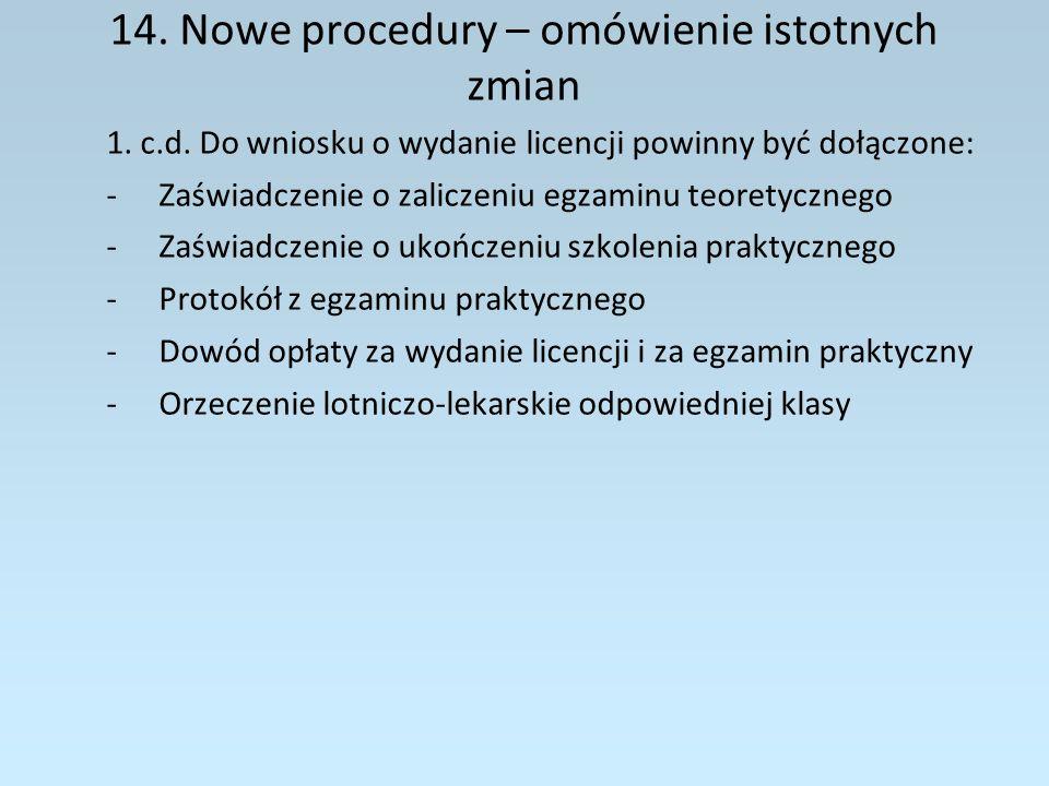 14. Nowe procedury – omówienie istotnych zmian
