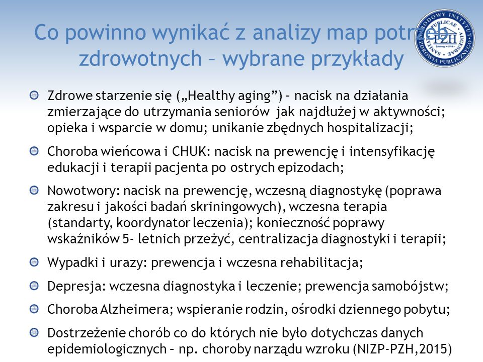 Co powinno wynikać z analizy map potrzeb zdrowotnych – wybrane przykłady