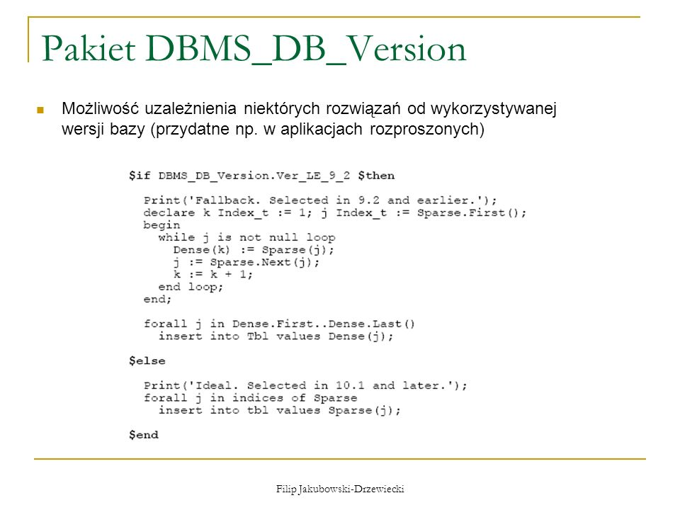 Pakiet DBMS_DB_Version