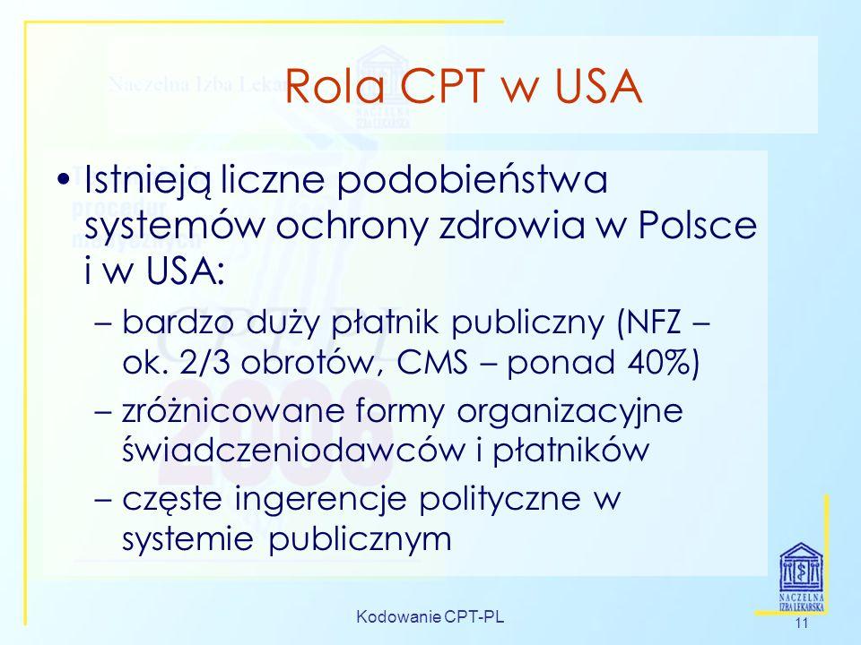 Rola CPT w USA Istnieją liczne podobieństwa systemów ochrony zdrowia w Polsce i w USA: