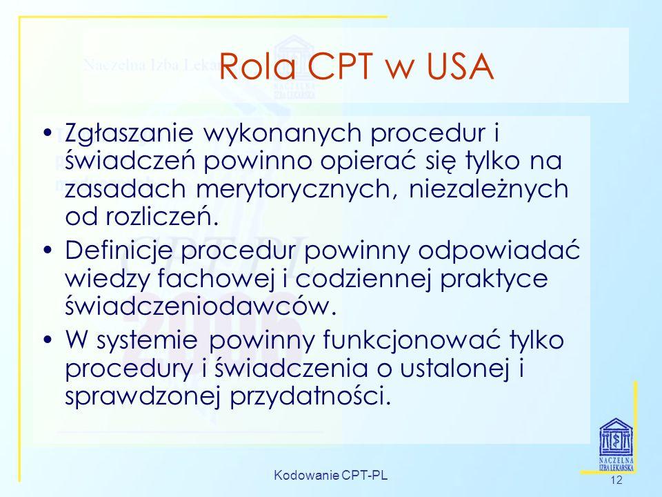 Rola CPT w USA Zgłaszanie wykonanych procedur i świadczeń powinno opierać się tylko na zasadach merytorycznych, niezależnych od rozliczeń.