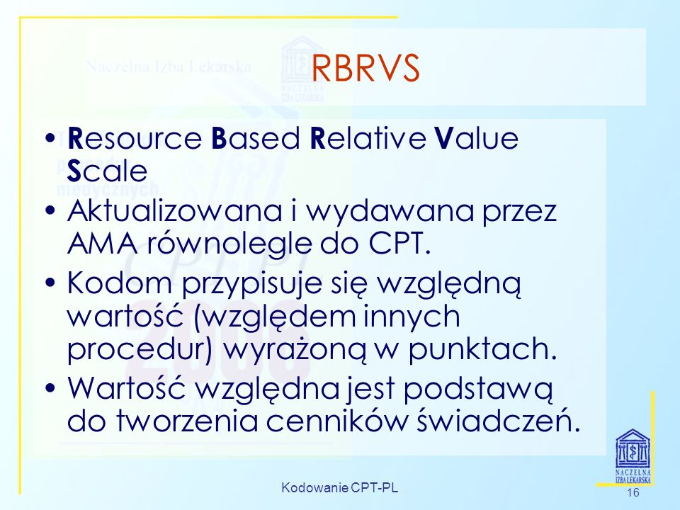 RBRVS Resource Based Relative Value Scale