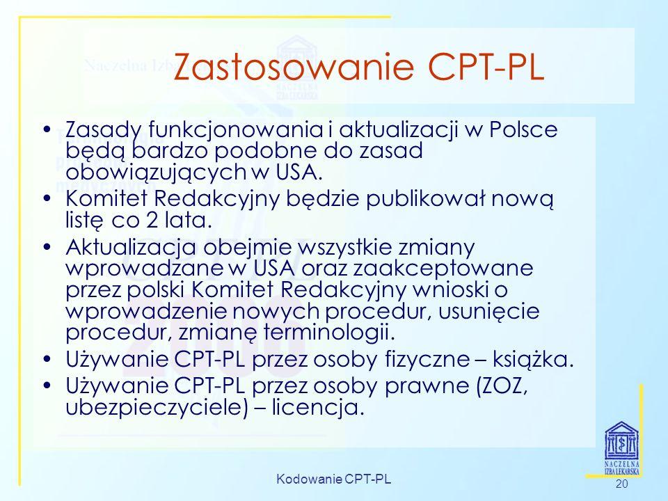 Zastosowanie CPT-PL Zasady funkcjonowania i aktualizacji w Polsce będą bardzo podobne do zasad obowiązujących w USA.