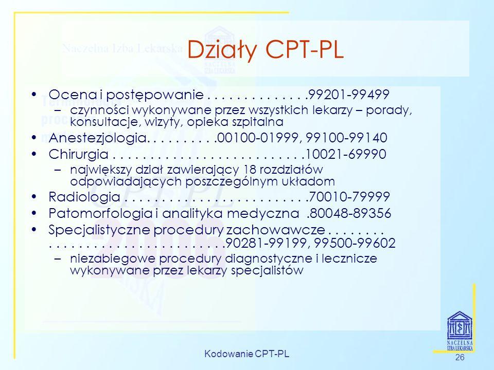 Działy CPT-PLOcena i postępowanie . . . . . . . . . . . . . .99201-99499.