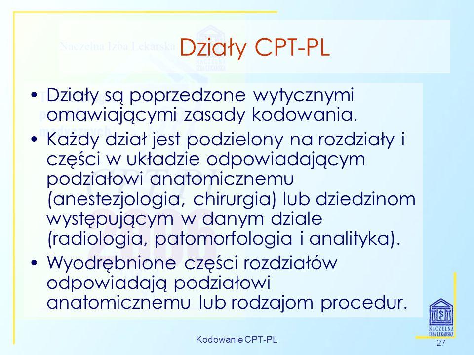 Działy CPT-PL Działy są poprzedzone wytycznymi omawiającymi zasady kodowania.