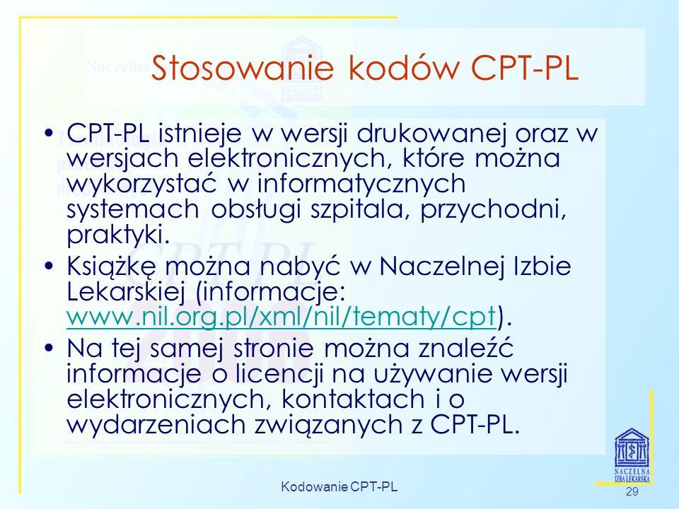 Stosowanie kodów CPT-PL