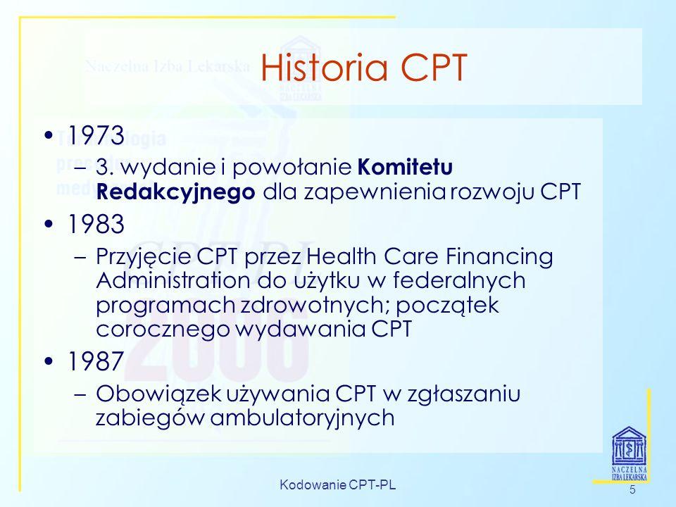 Historia CPT 1973. 3. wydanie i powołanie Komitetu Redakcyjnego dla zapewnienia rozwoju CPT. 1983.