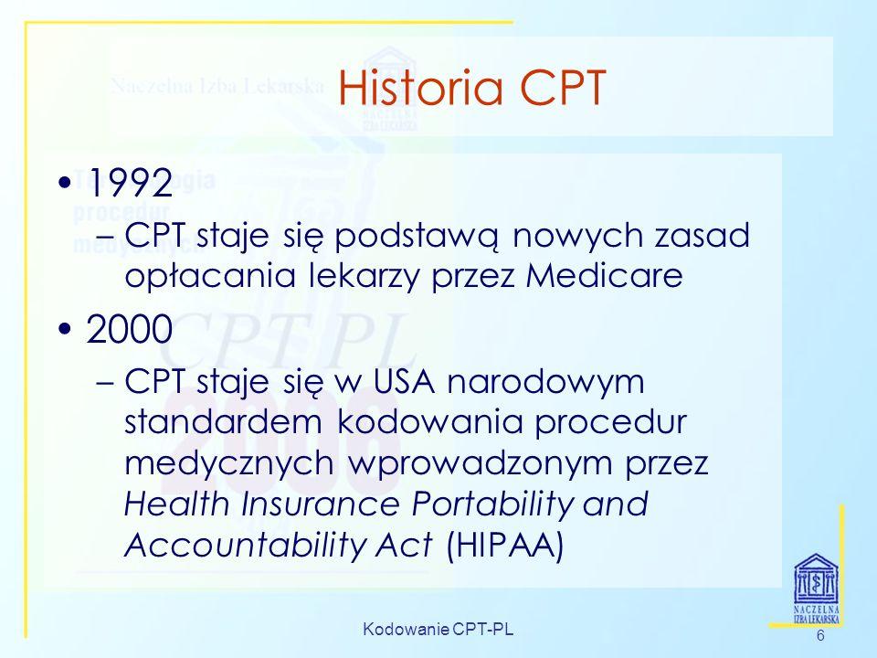 Historia CPT1992. CPT staje się podstawą nowych zasad opłacania lekarzy przez Medicare. 2000.