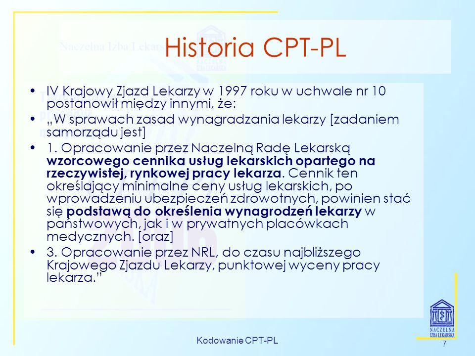Historia CPT-PL IV Krajowy Zjazd Lekarzy w 1997 roku w uchwale nr 10 postanowił między innymi, że: