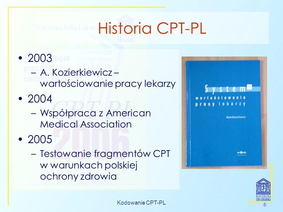 Historia CPT-PL 2003. A. Kozierkiewicz –wartościowanie pracy lekarzy. 2004. Współpraca z American Medical Association.