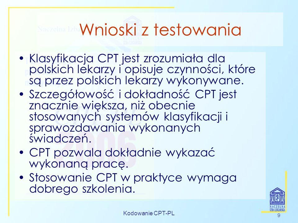 Wnioski z testowaniaKlasyfikacja CPT jest zrozumiała dla polskich lekarzy i opisuje czynności, które są przez polskich lekarzy wykonywane.