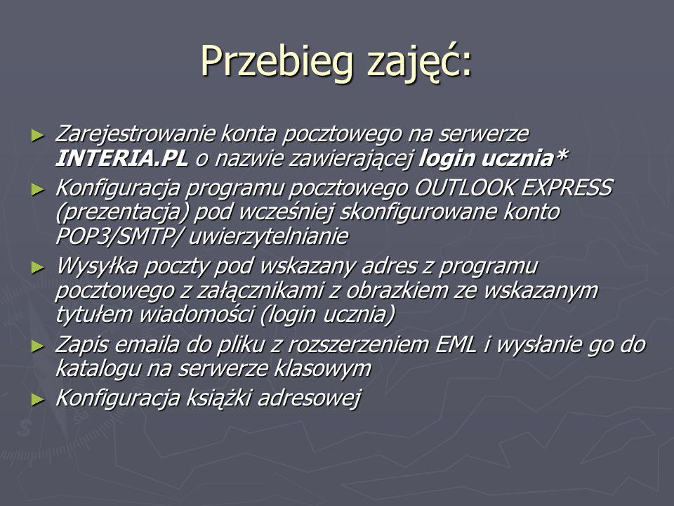Przebieg zajęć: Zarejestrowanie konta pocztowego na serwerze INTERIA.PL o nazwie zawierającej login ucznia*