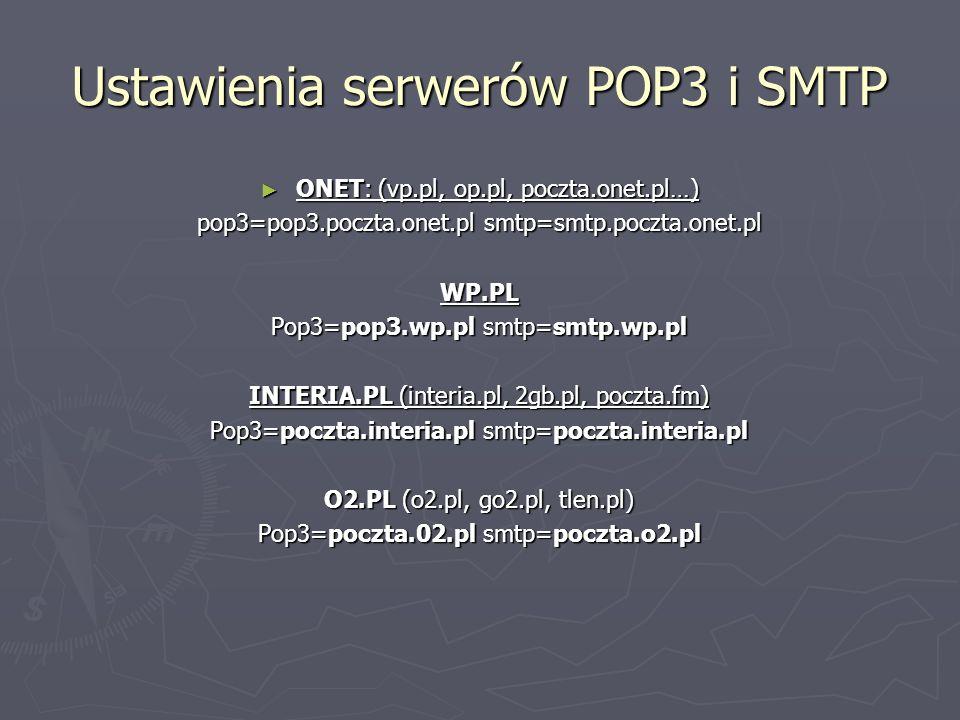 Ustawienia serwerów POP3 i SMTP
