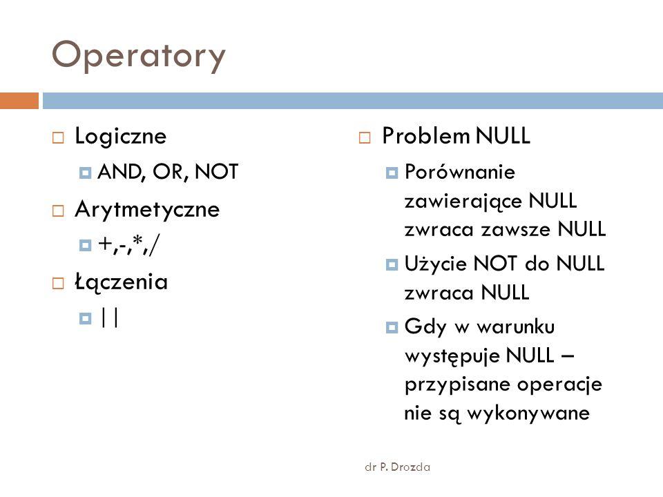 Operatory Logiczne Arytmetyczne Łączenia Problem NULL AND, OR, NOT