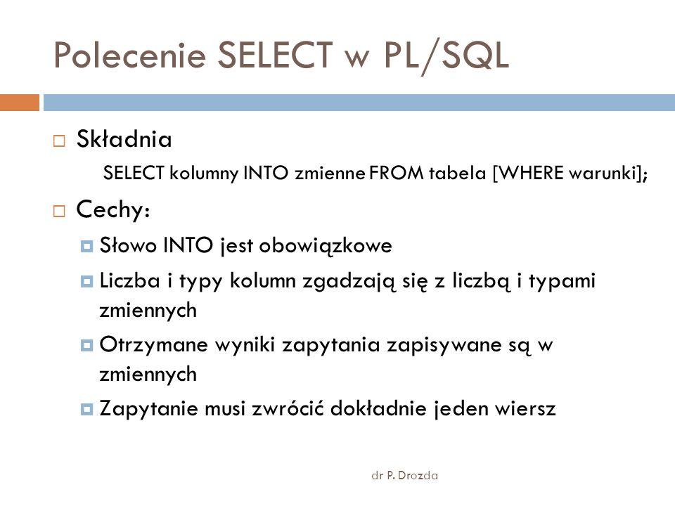 Polecenie SELECT w PL/SQL