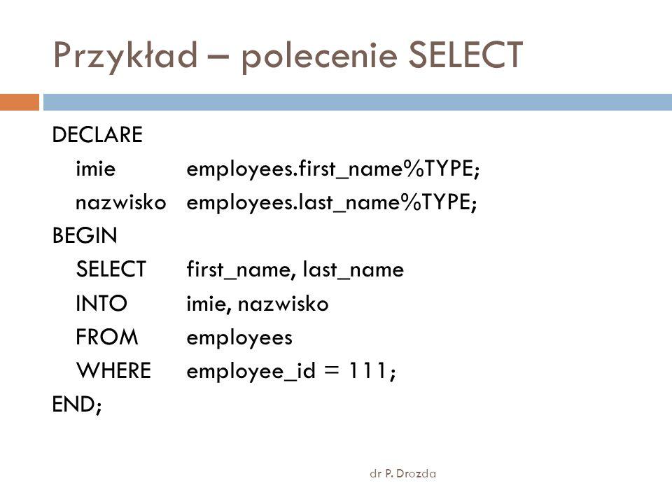 Przykład – polecenie SELECT