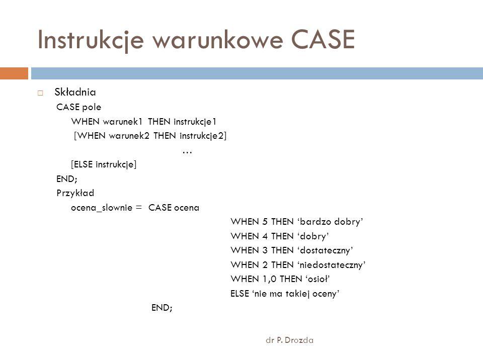 Instrukcje warunkowe CASE