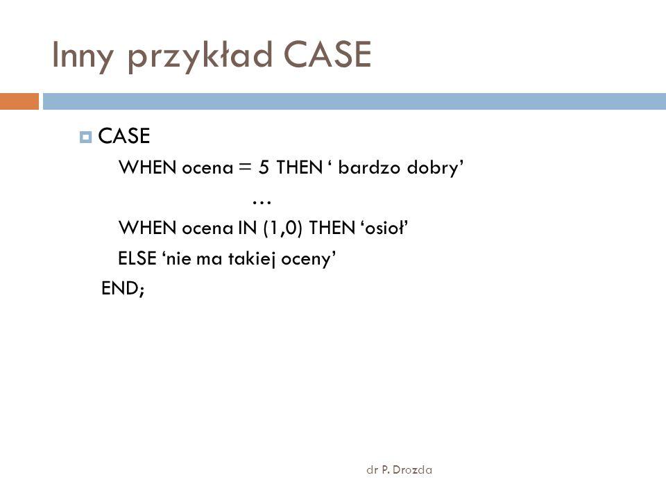 Inny przykład CASE CASE WHEN ocena = 5 THEN ' bardzo dobry' …