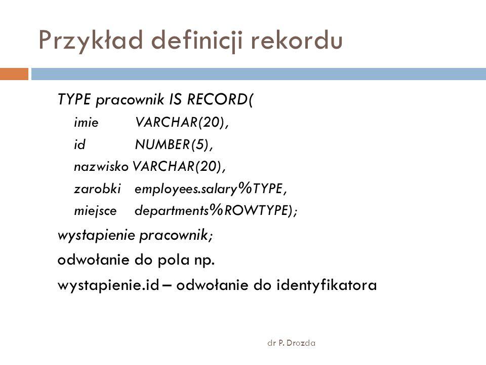 Przykład definicji rekordu