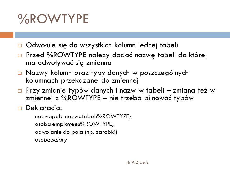 %ROWTYPE Odwołuje się do wszystkich kolumn jednej tabeli