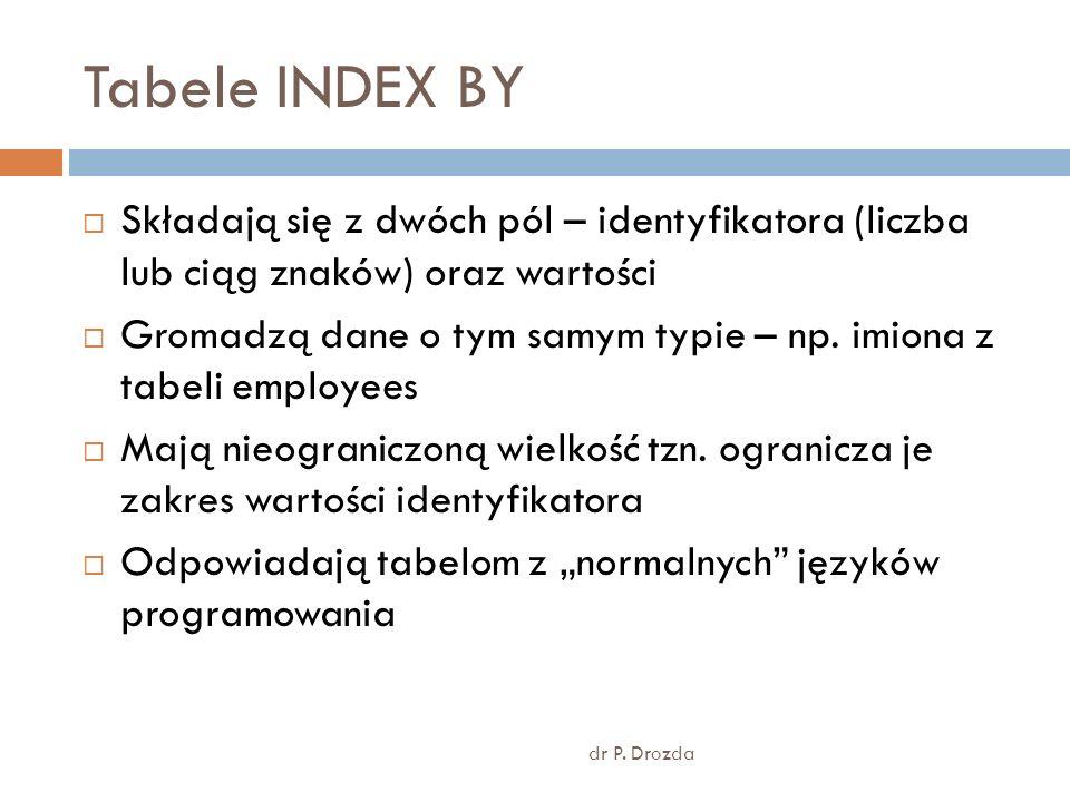 Tabele INDEX BYSkładają się z dwóch pól – identyfikatora (liczba lub ciąg znaków) oraz wartości.
