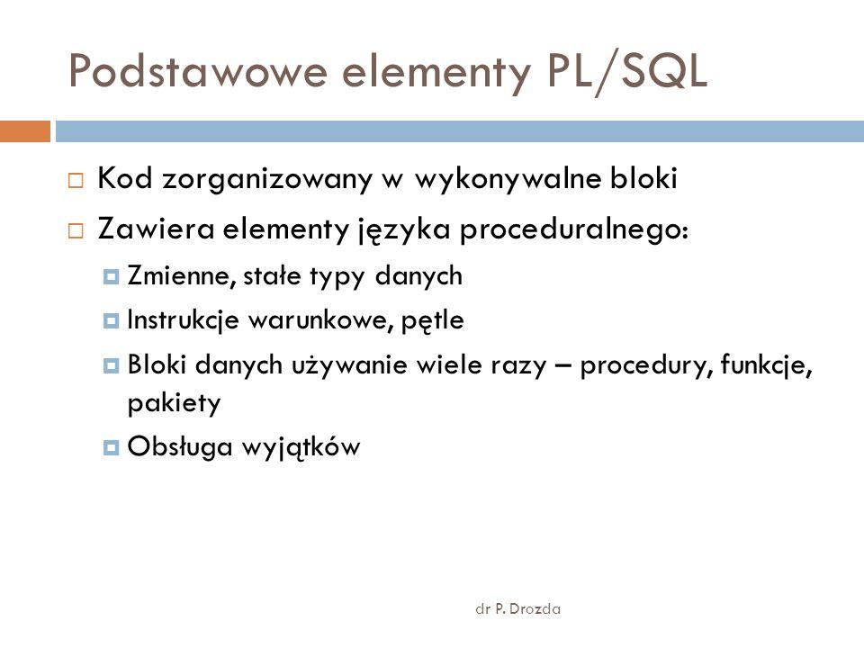 Podstawowe elementy PL/SQL