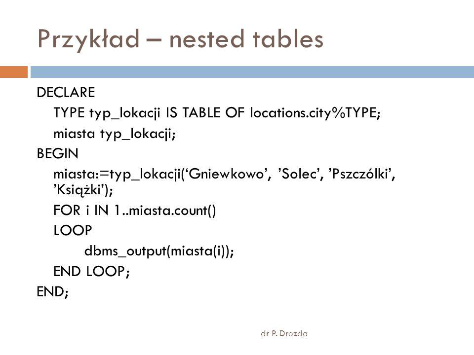Przykład – nested tables