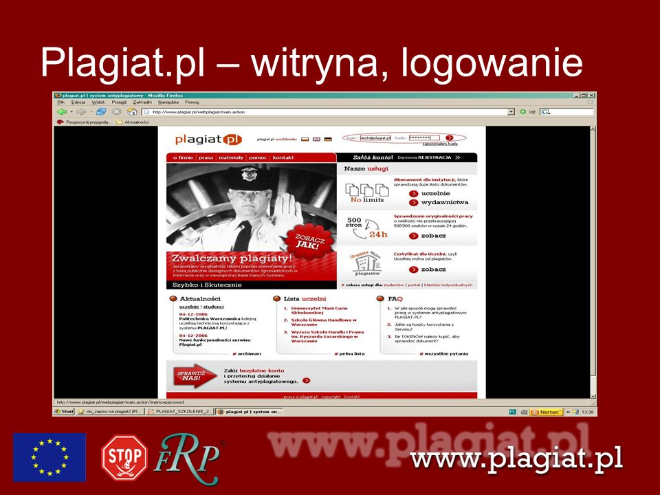 Plagiat.pl – witryna, logowanie
