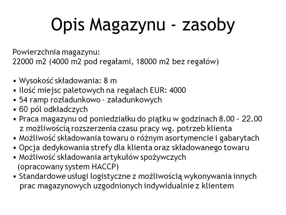 Opis Magazynu - zasoby Powierzchnia magazynu: 22000 m2 (4000 m2 pod regałami, 18000 m2 bez regałów)