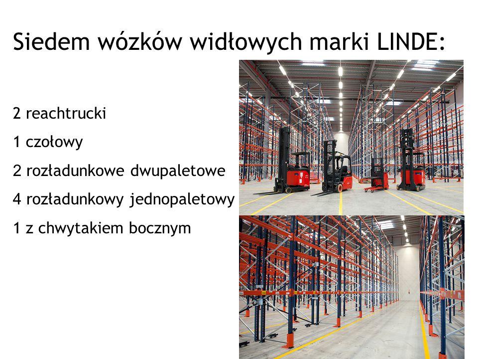 Siedem wózków widłowych marki LINDE: