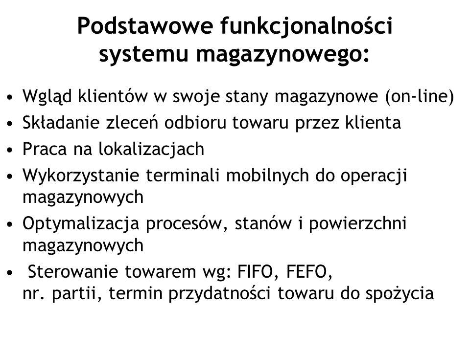 Podstawowe funkcjonalności systemu magazynowego: