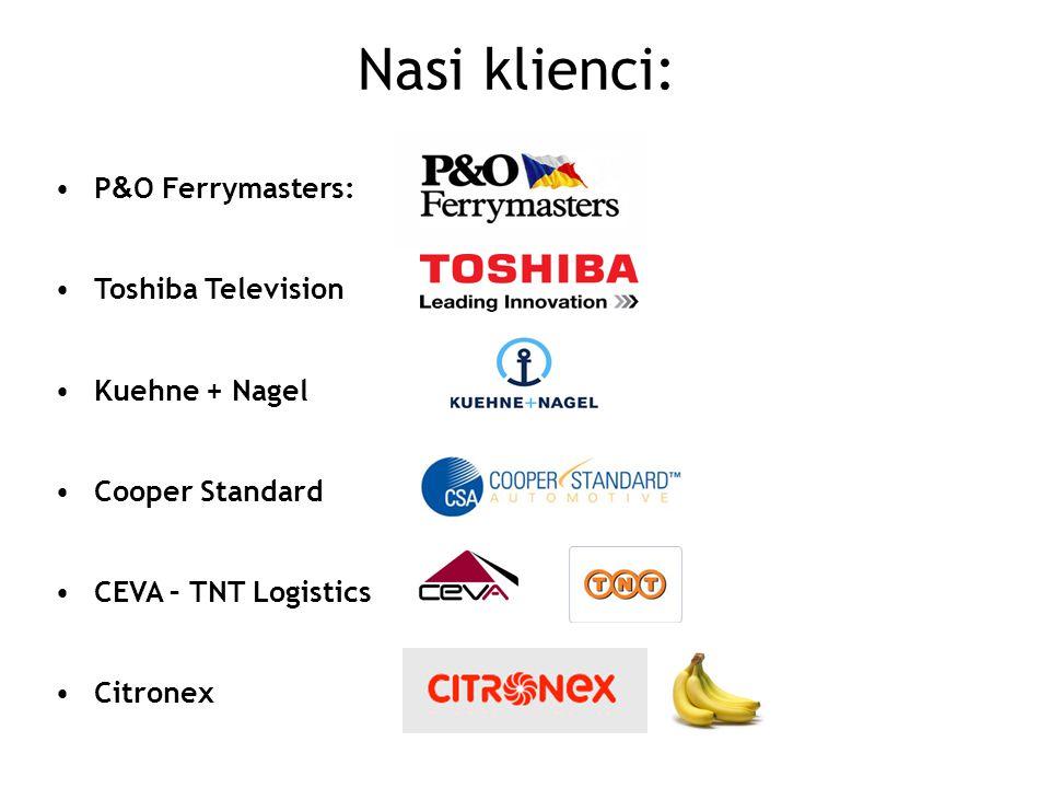 Nasi klienci: P&O Ferrymasters: Toshiba Television Kuehne + Nagel