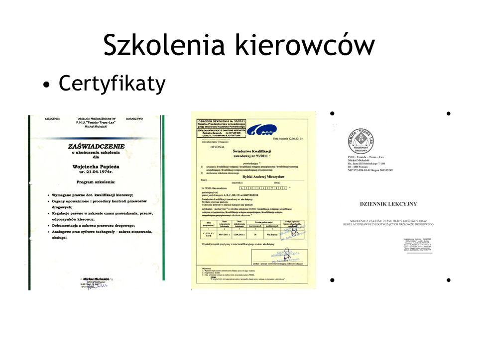 Szkolenia kierowców Certyfikaty