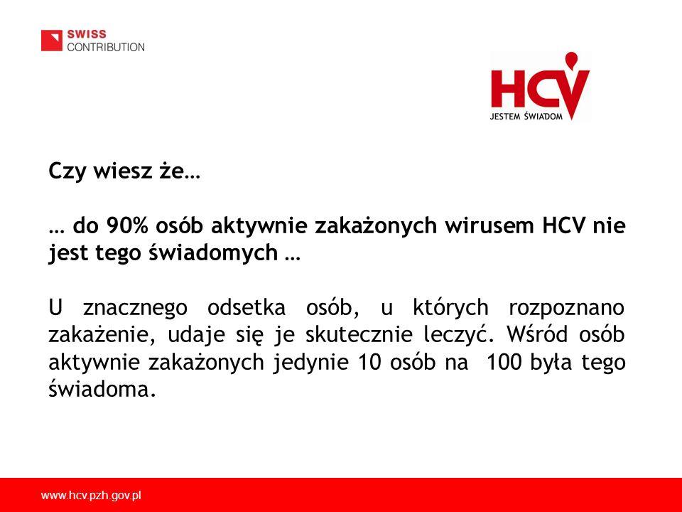 Czy wiesz że… … do 90% osób aktywnie zakażonych wirusem HCV nie jest tego świadomych …