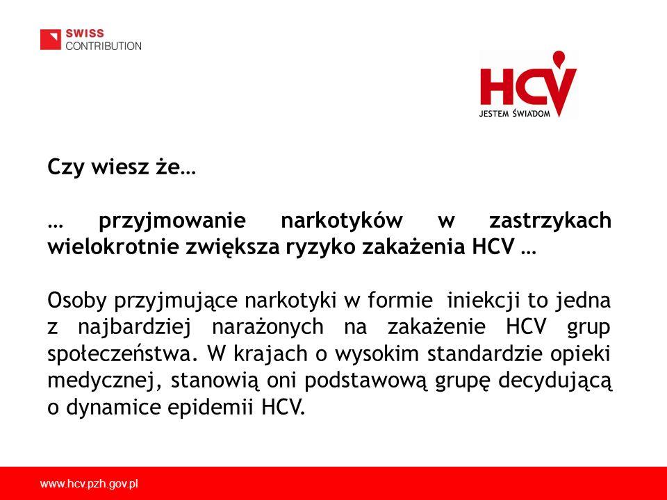 Czy wiesz że… … przyjmowanie narkotyków w zastrzykach wielokrotnie zwiększa ryzyko zakażenia HCV …