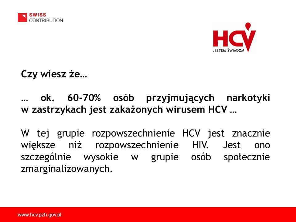 Czy wiesz że… … ok. 60-70% osób przyjmujących narkotyki w zastrzykach jest zakażonych wirusem HCV …